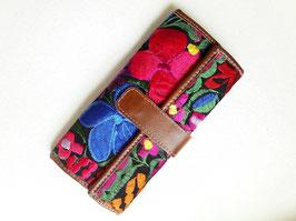 Geldbörse mit Blumenstickerei (schwarz) aus Mexiko (Leder)