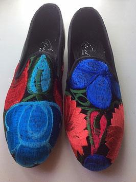 Grösse 38 Lederschuh mit Stickerei aus Mexiko blau-rot-türkis