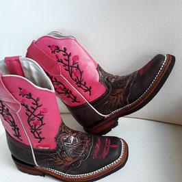 Cowboystiefel* Leder für Kinder rosa (Westernstiefel, Lederstiefel, Damenstiefel) aus Mexiko