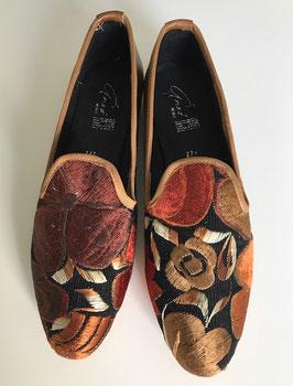 "Grösse: 41 Bestickte Leder-Schuhe aus Mexiko ""Cafe con Leche"""