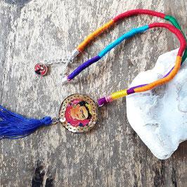 Multicolor Frida Halskette mit blauem Bommel/ Pom pom (handmade)