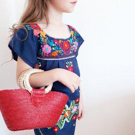 Mädchen Boho Sommerkleid, Tunika dunkelblau handbestickt aus Mexiko