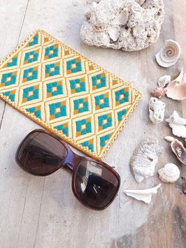 Kosmetikbeutel, Schminktasche Maya (sand-türkis) aus Mexiko