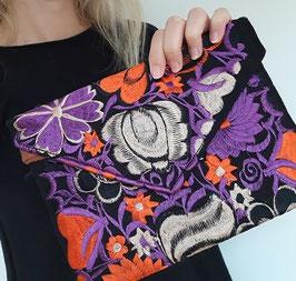 Boho Clutch / Abendtasche / Schultertasche (lila-orange) aus Mexiko