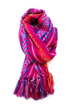 Boho Schal/ Tuch pink (Beerenfarbe) mit Streifenmuster aus Mexiko