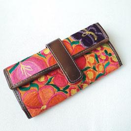 Geldbörse Leder (braun) mit Stickerei (orange) aus Mexiko