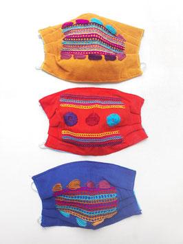 NEU Farbenfroher Mundschutz / Maske mit Stickerei (Streifen) breit