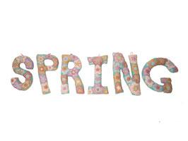 """Buchstaben """"Spring"""" türkis und Pastellfarben"""