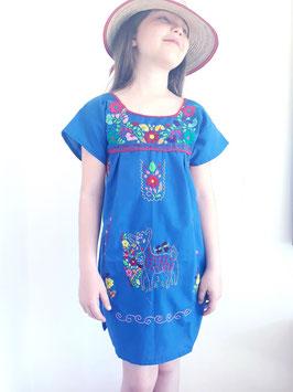 Mädchen Boho Sommerkleid, Tunika königsblau, handbestickt aus Mexiko