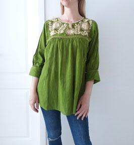 Bluse/Tunika/Top Margarete (grün-beige) handbestickt aus Mexiko