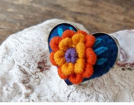 AUSVERKAUFT! Ring Herzform bestickt blau-orange aus Mexiko (handmade)