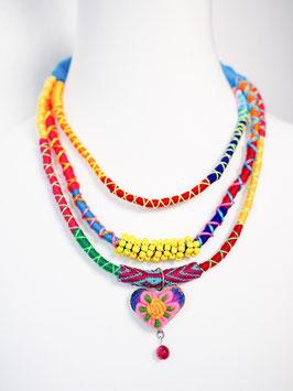 Bunte Multi-Halskette mit Herz-Anhänger (gelb2)