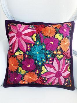 Deko-Kissen dunkelllila große Blume, aus Mexiko, Kissenhülle, Kissenbezug boho