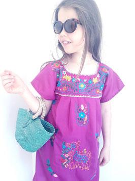 Mädchen Boho Sommerkleid, Tunika  Blüte blau, handbestickt aus Mexiko
