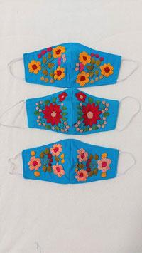 Farbenfrohe Boho Alltagsmaske (blau-gelb-rot)