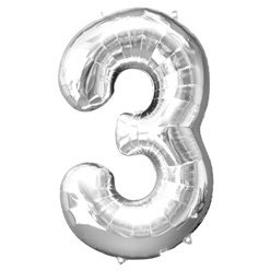 "Folienballon Silber ""3"", 86cm"