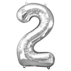 "Folienballon Silber ""2"", 86cm"