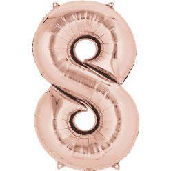 "Folienballon Rosé Gold ""8"", 41cm"