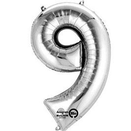 "Folienballon Silber ""9"", 41cm"
