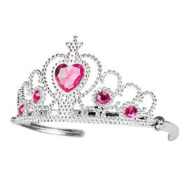 Krone, silber mit rosa Herz