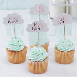 Hello World Cupcake-Topper