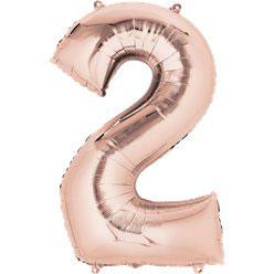 "Folienballon Rosé Gold ""2"", 41cm"