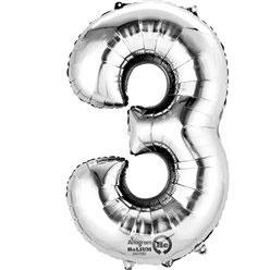 "Folienballon Silber ""3"", 41cm"