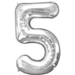 "Folienballon Silber ""5"", 86cm"