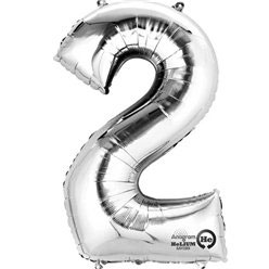 "Folienballon Silber ""2"", 41cm"