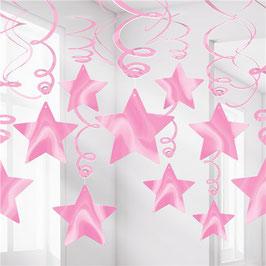 New Pink Hängegirlanden mit Sternen