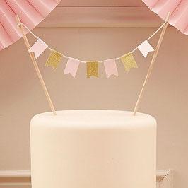 Kuchenbanner rosa und gold