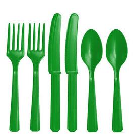 Grünes Plastik-Besteck