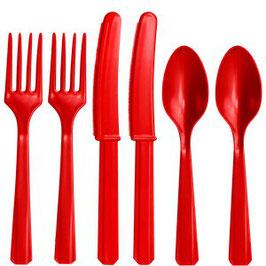 Rotes Plastik-Besteck