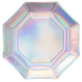 Pappteller Hexagon 25cm, irisierend
