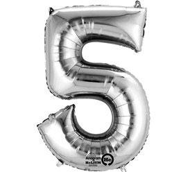 "Folienballon Silber ""5"", 41cm"