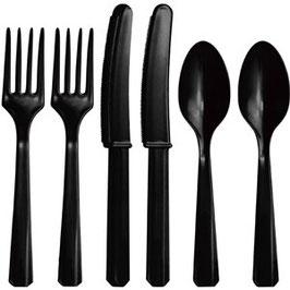 Schwarzes Plastik-Besteck