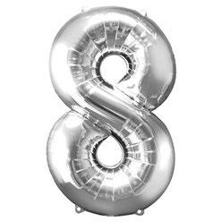 "Folienballon Silber ""8"", 86cm"