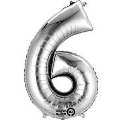 "Folienballon Silber ""6"", 41cm"