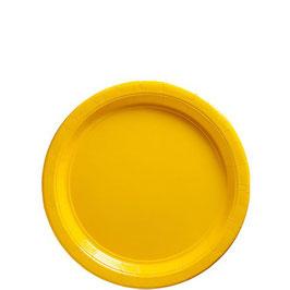 Gelbe Pappteller, 8 Stk.