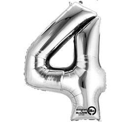 "Folienballon Silber ""4"", 41cm"