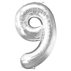 "Folienballon Silber ""9"", 86cm"