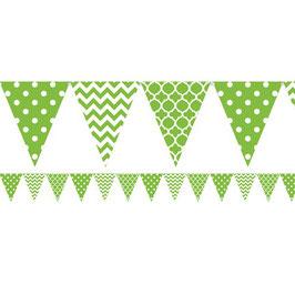 Grüne Fähnchengirlande mit Muster