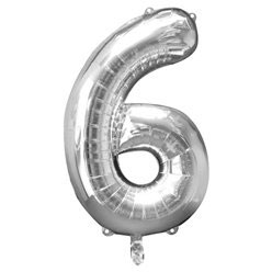 "Folienballon Silber ""6"", 86cm"