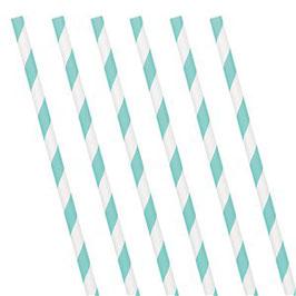 Blaue Papierstrohhalme