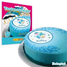 Tortenaufleger, Happy Birthday blau, Esspapier, 12cm