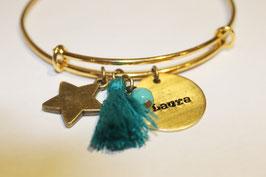 Pulsera brazalete BOHO personalizado con chapa grabada -metal dorado-