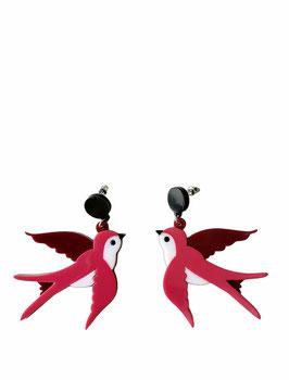 Pendientes pájaros | rosas