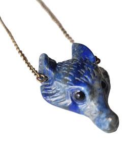 Colgante Kitsune · zorro azul