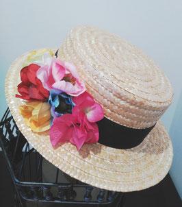 Sombrero canotier copa alta {flores multicolor}