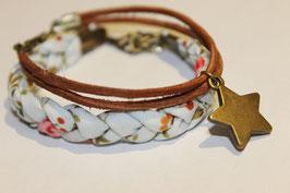 MIX Pulseras cuero rustic star & tela trenzada soft mint